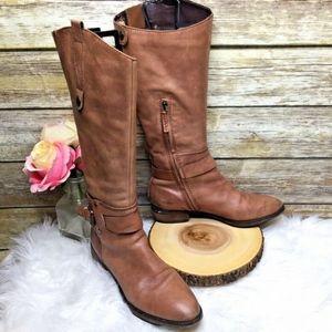 Sam Edelman Poe Light Brown Leather Knee Boots